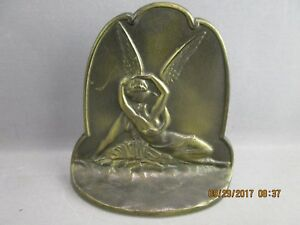 Antique 1928 Cupid And Psyche Bookend Cast Metal Art Deco Connecticut Foundry