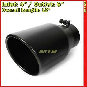 Universal Exhaust Tip Angled Black 12in Bolt On 4in Inlet 6in Outlet 233159