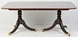 Baker Williamsburg Collection Banded Mahogany Dining Table With Brass Paws