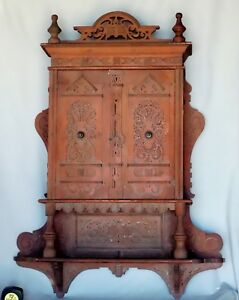 Antique Red Painted Pierce Carved Hanging Wall Cabinet Cupboard C 1900 Pine