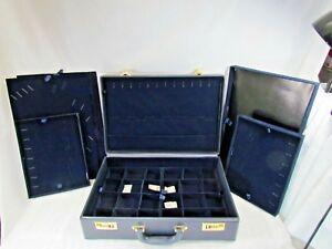 Blue Jewelry Attache Carrying Case W combination Lock 19x13x5 a