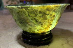 Antique Hand Carved Chinese Spinach Green Nephrite Jade Bowl On Wooden Stand