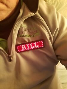 Led Digital Programmable Recharging Name Message Badge