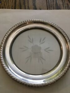 Wine Bottle Coaster Dish Acid Etched Glass Sterling Silver 1940 S 2 Available