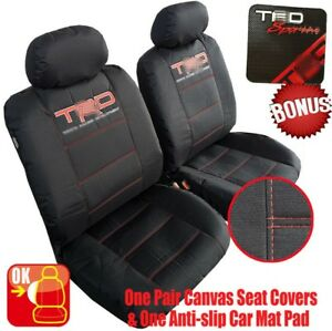 Black Canvas Waterproof Car Seat Cover Front Universal For Toyota Tacoma