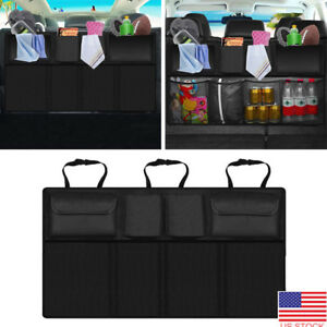 Car Seat Back Organizer Storage Bag Travel Holder Multi Auto Hanger Black