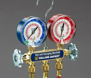 Yellow Jacket 42004 Series 41 Manifold With 3 1 8 Gauges