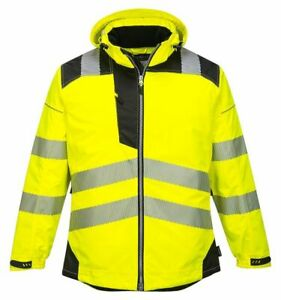 Portwest T400 Vision Reflective Hi vis Waterproof Rain Safety Work Jacket Ansi