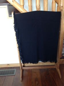 Amish Hand Made Black Wool Blanket 65 X 62 Carriage Sleigh Lap Plain Clothing