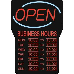 Led Lighted Business Hours Open Sign Black Red Light Super Bright Display Board