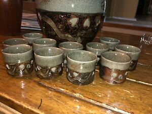Japanese Horse Motif Handpainted Cups And Bowl