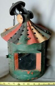 Original Pierced Punched Tin Hanging Candle Lantern Painted Decorated 19th C
