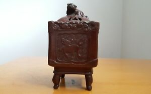 Japanese Chinese Vintage Bronze Incense Burner Mythical Animal 4 Inches Tall