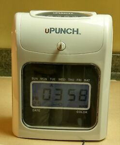 U punch Hn 4000 Electronic Calculating Time Clock Gray 10 Card Holder Cards