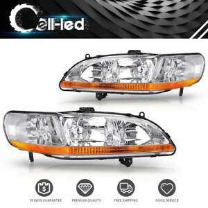 For 1998 2002 Honda Accord Chrome Amber Clear Headlights Headlamps Assemb