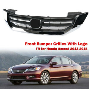 Car Front Upper Bumper Chrome Grille Grill For Honda Accord 2013 2015