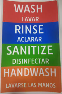 wash rinse sanitize Portable 3 compartment Sink Stickers Labels Signs