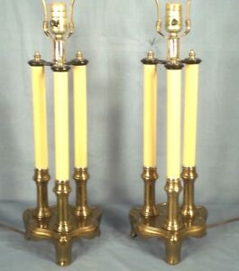 Pair Of Mid Century Brass 3 Column Candlestick Lamp On Footed Base