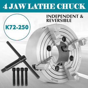 K72 250 10 4 Jaw Lathe Chuck Independent 10 Inch Reversible Cast Iron Pro