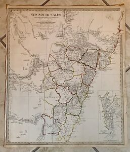 Antique Map Of New South Whales With Sydney Inset 1833 Sduk