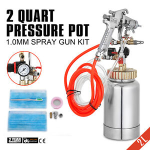 2l 2 Quart 1 0mm High Pressure Pot With Spray Gun Hose Paint House Painting Tool