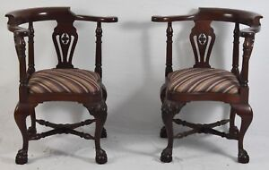 Pair Of Chippendale Solid Mahogany Carved Corner Chairs Williamsburg Style