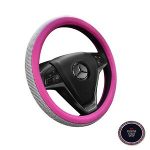 Pink Car Steering Wheel Cover Decor 38cm 15 Bling Rhinestone Diamond Girl Lady