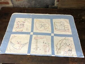 Antique Or Vintage Hand Sewn Embroidered Primitive Folk Art Child S Quilt Blue