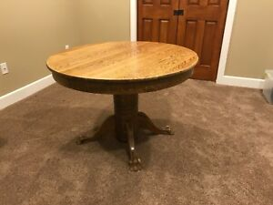 Antique Claw Foot Oak 42 Round Dining Table Expands To 72 Oval Local Pick Up