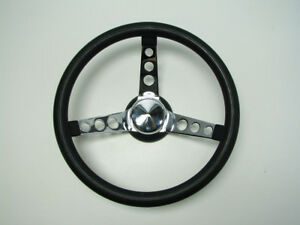 Steering Wheel Chrome Black Aftermarket Hot Rod Rat Rod Lowrider 13 Inch