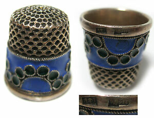 Vintage Russian Enameled Silver Thimble Hallmarked 1927 1957 Stamp Head 916 Ussr