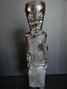 Antique African Wood Carved Tribal Warrior Statue Figure African Art Signed 13