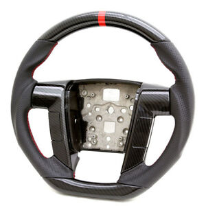 Handkraftd Black Leather Hydro Carbon Steering Wheel For 11 12 13 14 Ford F150