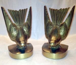 Rare Deco Signed Numbered Jb Jennings Brothers Bronze Bookends Birds Swallows