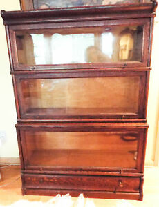 Antique Oak Barrister Lawyers Cabinet Macey 3 Sectional Stacking Bookcase 1900s
