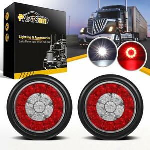 2x4 Round Red White 16led Combo Brake Stop Turn Tail Backup Lights Rubber Mount