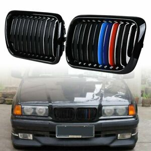 Black M Color Bumper Hood Kidney Grille For Bmw E36 M3 3 Series 318is 328i 97 99