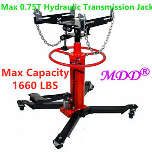 Max 1660lbs 0 75ton Transmission Jack 2 Stage Hydraulic W 360 For Car Auto Lift