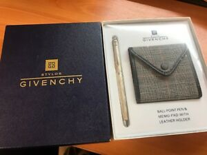 Givenchy 925 Silver Ball Point Pen memo pad With Leather Holder