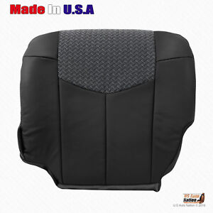 2002 Chevy Avalanche Bottom Dark Gray Leather With Cloth Seat Cover For Driver