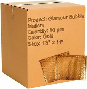 50 Pack Gold Bubble Mailers 13 X 10 5 Metallic Padded Envelopes 13 X 10 1 2