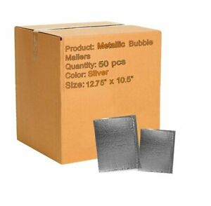 Abc 50 Pack Metallic Bubble Mailers 12 75 X 10 5 Silver Padded Envelopes 13