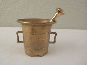 Antique 1 7 8 Brass Bronze Double Handle Mortar Pestle Apothecary Pharmacy C