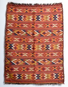 Antique Vintage Kilim Rug Azerbaijan Shirvan Bagface Bag Face 1900s Natural Dye