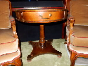 Antique Drum Table Wood Leather Top 26 In Across 27 In High