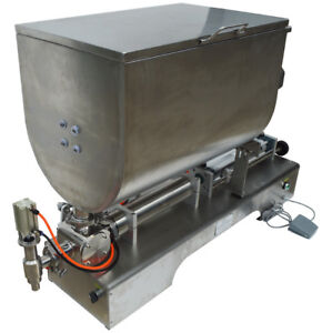 100 1000ml Liquid Thick Paste Filling Machine Piston Filler 60l Mixing Hopper