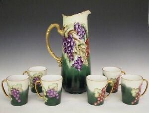 Victorian Porcelain Hand Painted Drinks Set With Pitcher 13 1 4 And Six Mugs