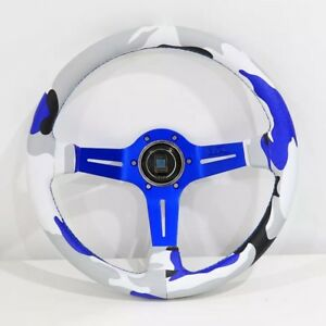 Nd Jdm Style 14 350mm Blue Camo Leather Deep Dish Racing Steering Wheel W horn