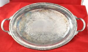 Vintage Silver Plate Butler Large Oval Handled Serving Tray 20 X 15