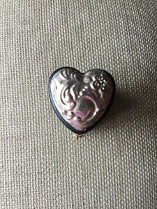 Hallmarked English Sterling Silver Black Leather Heart Ring Box